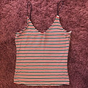 Red White and Blue Striped Crop Cami